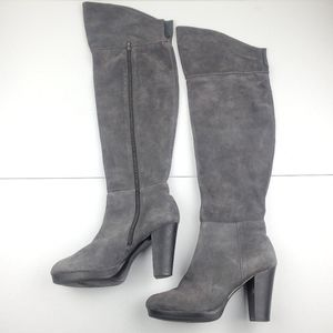 NINE WEST Gray Leather Suede Over The Knee Boots